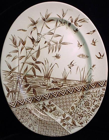 Brown transferware plate, Aesthetic Movement