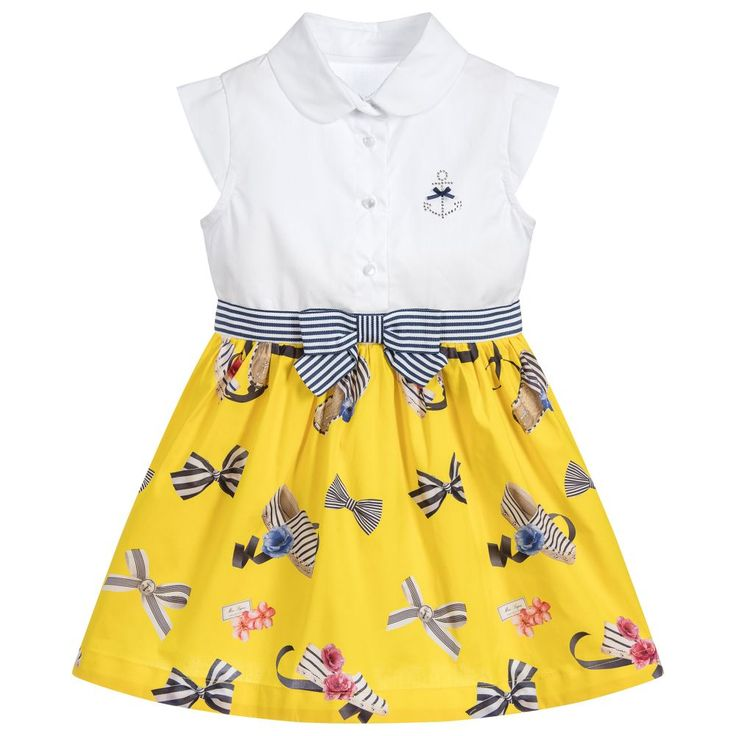 This adorable yellow espadrille and bow print dress by Lapin House has a white sleeveless top for a super chic look. Embellished with a diamanté anchor and a striped grosgrain ribbon around the waist, this dress is perfect for smart days and formal events.