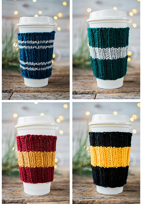 Free Knitting Pattern for Coffee Cup Cozy Cozies in Hogwarts House Colors. Perfect for Starbucks Travel cups cups! See the full tutorial with free printable! | Pattymac Knits