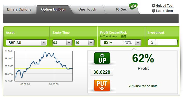 Option builder- gives full control over binary options. It's made to order your way! http://www.insideoption.com/content.php?id=1116