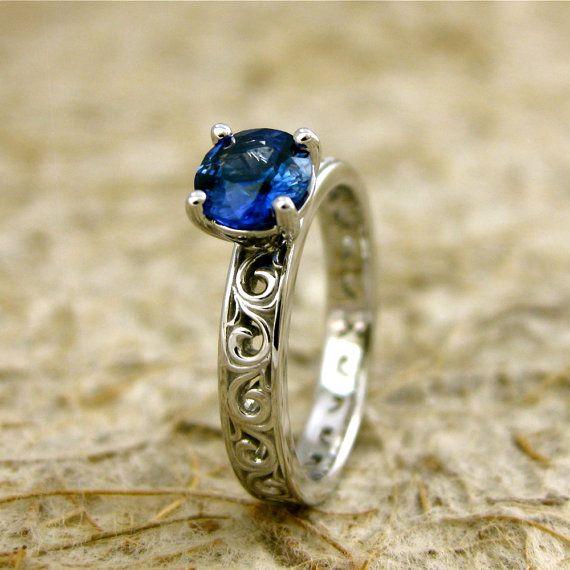 Azul zafiro anillo de compromiso en oro blanco por SlowackJewelry