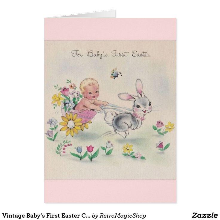Vintage Babys First Easter Card