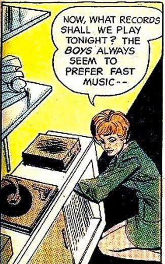 """The boys always prefer fast music"" (vinyl records in comic books)"