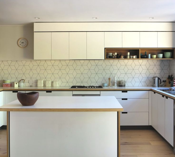 Geometric tiled splashback white kitchen timber details Splashback tiles kitchen ideas