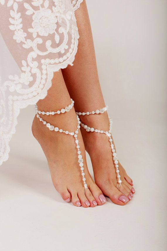 Beaded Barefoot Sandals Beach Wedding Sandal Pearl Shoes Bridal Footless