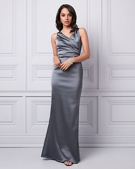 LE CHÂTEAU: Stretch Satin V-Neck Gown