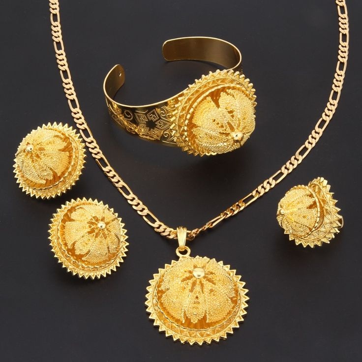 Bangrui Gold Ethiopian Jewelry sets Pendant Necklace Earrings Ring Bangle Gold Plated Eritrean Style Jewelry Africa Wedding