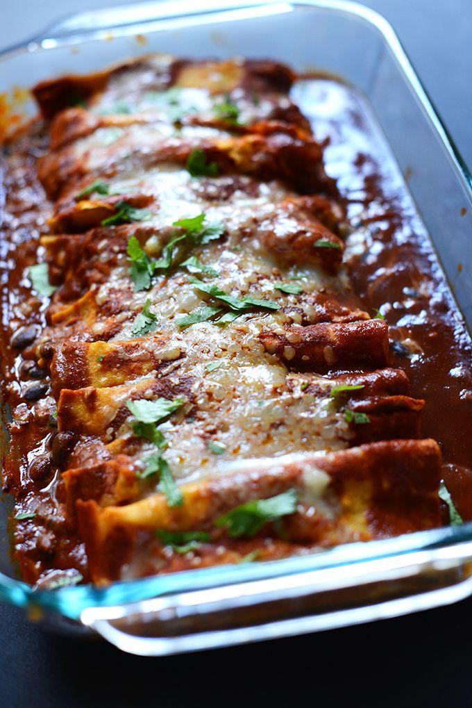 Spicy Black Bean Enchiladas: whole wheat tortillas, can black beans ...