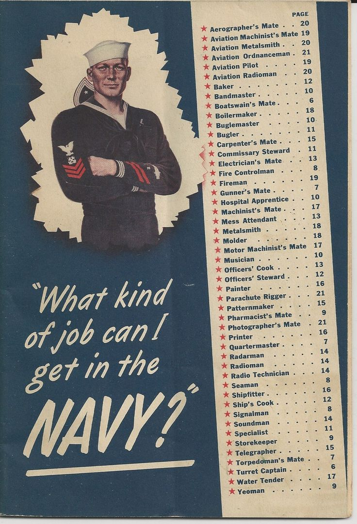 "1942 U.S.Navy Recruitment Brochure ~ ""What Kind of Job Can I Get in the Navy?"""