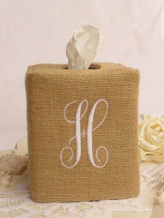 Burlap monogram tissue box cover by headtotoe2009 on Etsy, $27.00