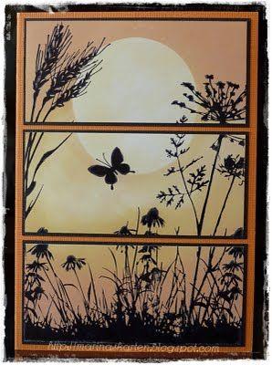 "By Marina. Moon masked with die-cut circle (Spellbinders). Sky sponged. Images from ""Meadow"" set (Inkadinkado) stamped in black."