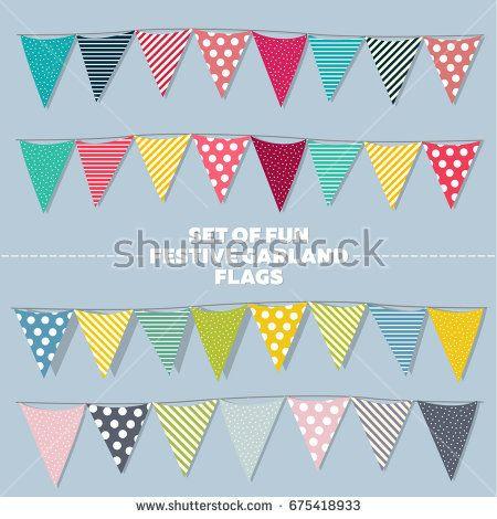 Set of fun vector motley festival garland of flag