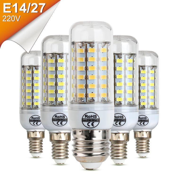 Bombillas LED 220 V E27 E14 Bombilla de La Lámpara Led de Brillo 24 36 48 56 69 leds Navidad Bombilla Chandelier Lampada Alta Luz Brillante LED