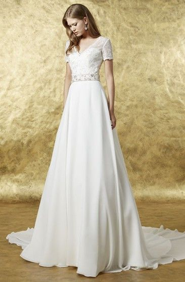 55e428627cbf A-Line Floor-Length Cap-Sleeve Square-Neck Lace Wedding Dress With  Appliques And Illusion - UCenter Dress