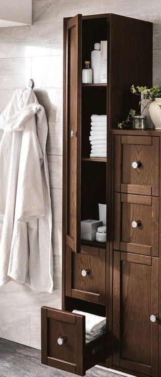 #Eban #colonna sospesa Domitilla 170 | #Legno | su #casaebagno.it | #composiozioni #mobili #bagno #arredamento #design