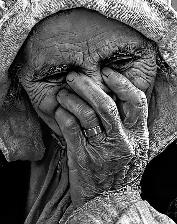 aged faces and hands... they show a life well lived