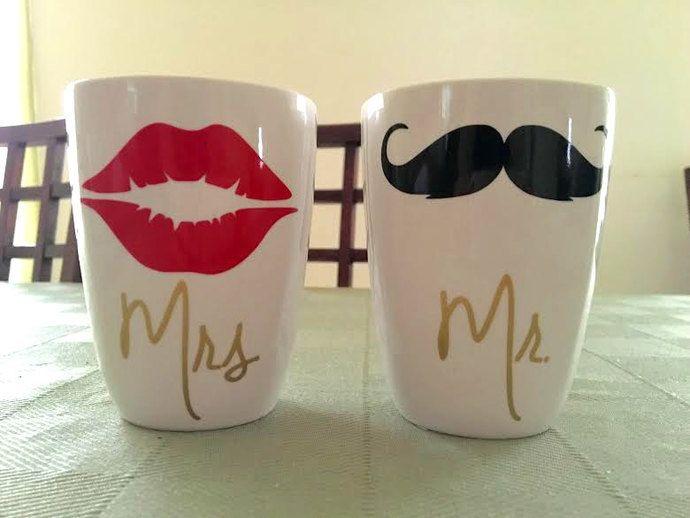 His and Hers Coffee Mugs, Cute coffee mugs, custom coffee mugs, vinyl coffee