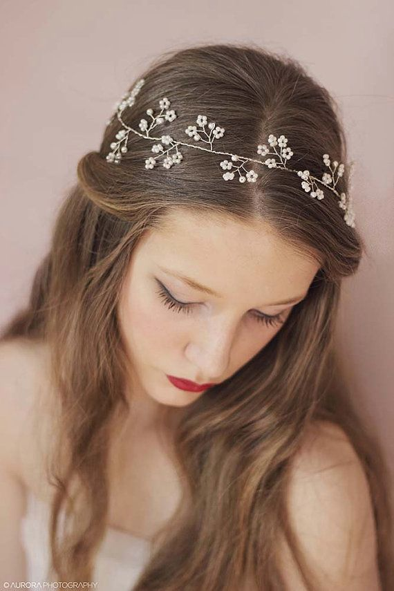 Wedding Pearl Headband,Wedding Hair Vine,Bridal Halo,Bridal Hair Vine,Floral Wedding Headpiece,Pearl