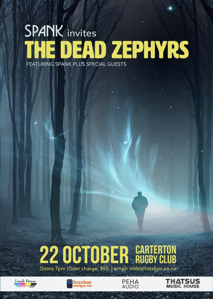 Poster design for Spank invites The Dead Zephyrs, Carterton Rugby Club
