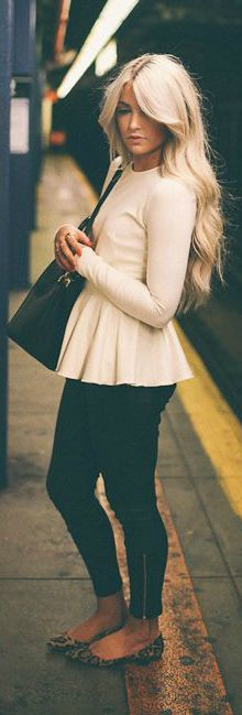 White Peplum + Black Skinnies