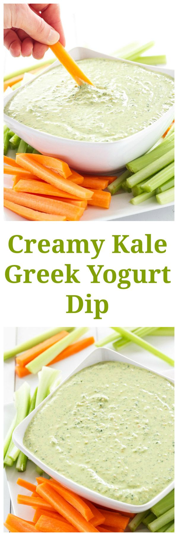 Creamy Kale Greek Yogurt Dip | Finally a dip you can feel good about eating! | www.reciperunner.com