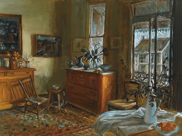 Margaret Olley | Afternoon circa 1972 oil on board  , 74.5 x 99.5 cm   Provenance:Holdsworth Galleries, Sydney (label fragment attached verso)Private collection, Sydney Related WorksAfternoon Interior 1972, oil on board, 91.5 x 121.7 cm, illus. in Pearce, B., Margaret Olley, Art Gallery of New South Wales, 1996, (pl.30, p.64)Early Morning Interior, 1973, oil on board, 90.0 x 122.0 cm, illus. in Pearce, B., Margaret Olley, Art Gallery of New South Wales, 1996, (pl