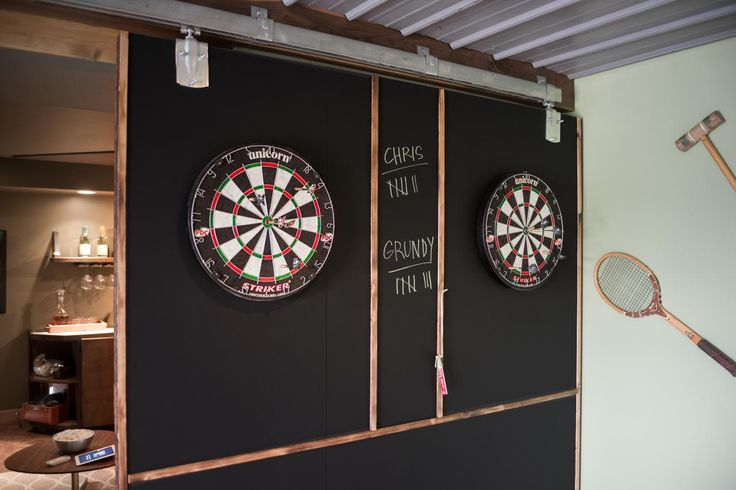 We love the chalkboard dart board in Blog Cabin's game room >> http://www.diynetwork.com/blog-cabin/2015/game-room-pictures-from-diy-network-blog-cabin-2015-pictures?soc=pinterestbc15