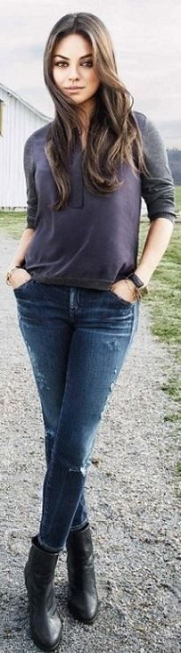 Mila Kunis: Jeans – GOLDSIGN  Shoes – Rag  Bone