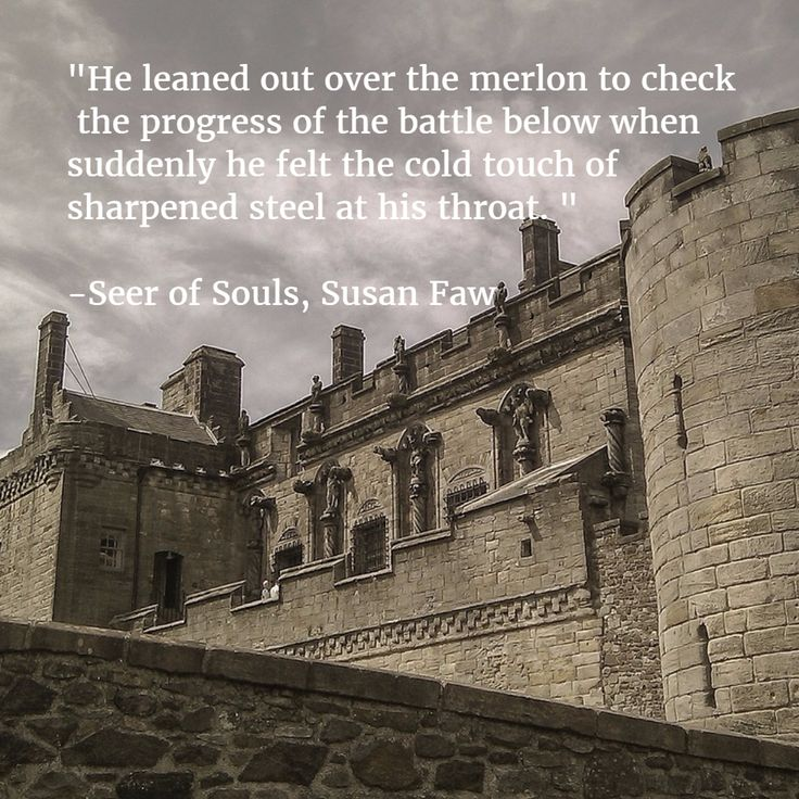 """""""He leaned out over the merlon to check  the progress of the battle below when suddenly he felt the cold touch of  sharpened steel at his throat. """"  -Seer of Souls, Susan Faw"""