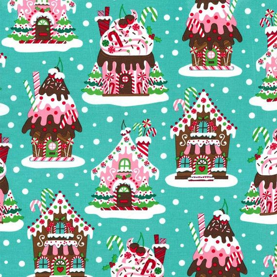 Gingerbread Houses Aqua  Michael Miller by spiceberrycottage, $8.95