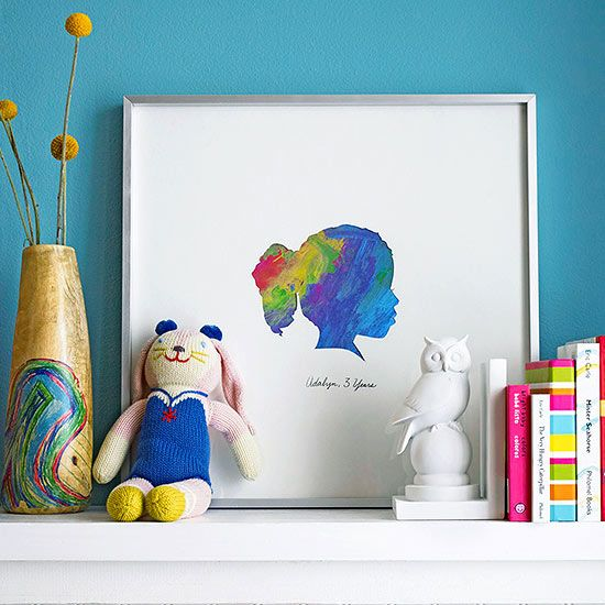 Kids' Artwork Silhouette Decoration: Love this idea. Turn a kid's finger painting or scribbling into a silhouette!