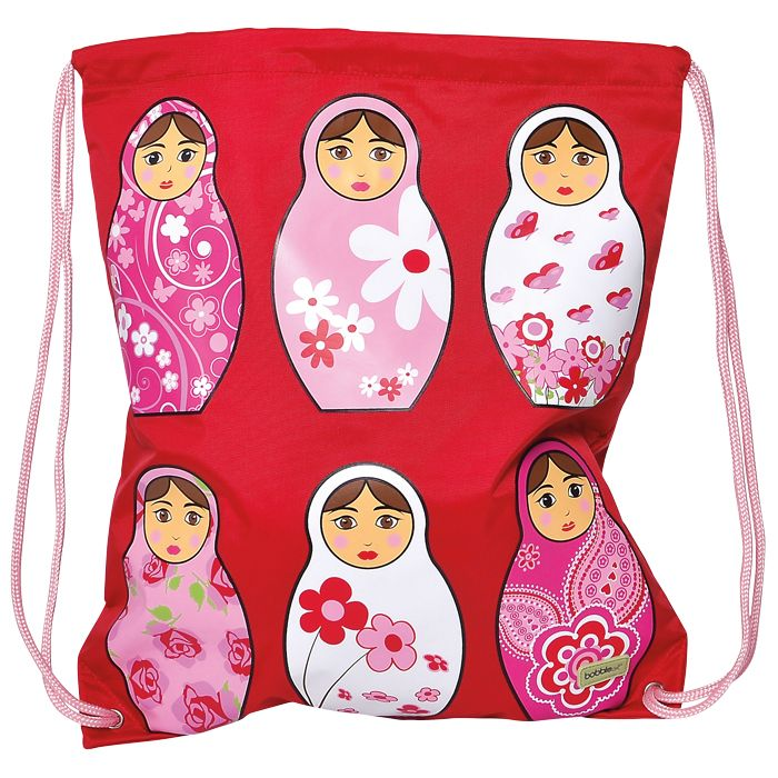 This adorably cute Babushka-themed #BobbleArt drawstring #swimbag or library books bag is made of a very durable nylon fabric and inside has a large, internal mesh pocket with zip closure. #kidsbags #forkids