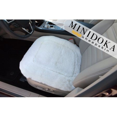 Sheepskin Seat Pad - Ivory - Large Size 20 x 20 - Universal Fit - Leather and Patented Non Slip Backing for Comfort in Car, Plane, Office, or Home, by Minidoka Sheepskin, Beige
