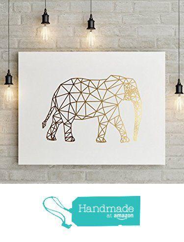 Elephant Print, Geometric Elephant, Elephant Art, Real Gold Foil, Elephant Wall…