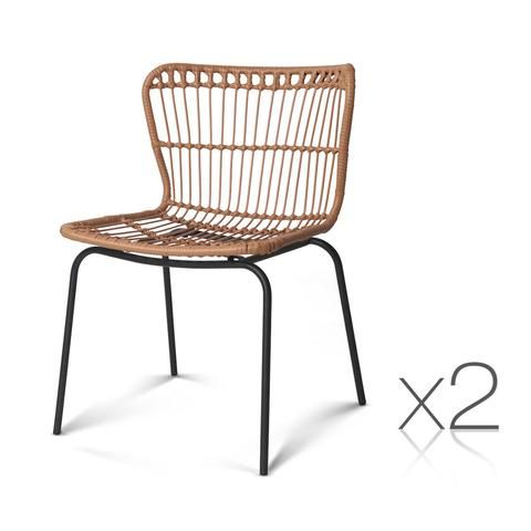 Artiss Set of 2 PE Wicker Dining Chair - Natural in 2019