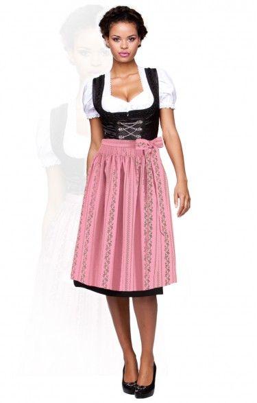 Trachten Dirndl Schürze - SC195 - rosa midi