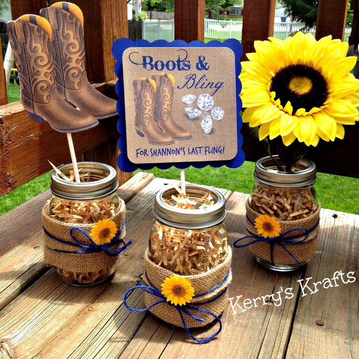 Boots and Bling Centerpiece - bachelorette party - bridal shower - sunflower and burlap by kerryadkins on Etsy https://www.etsy.com/listing/235915452/boots-and-bling-centerpiece-bachelorette