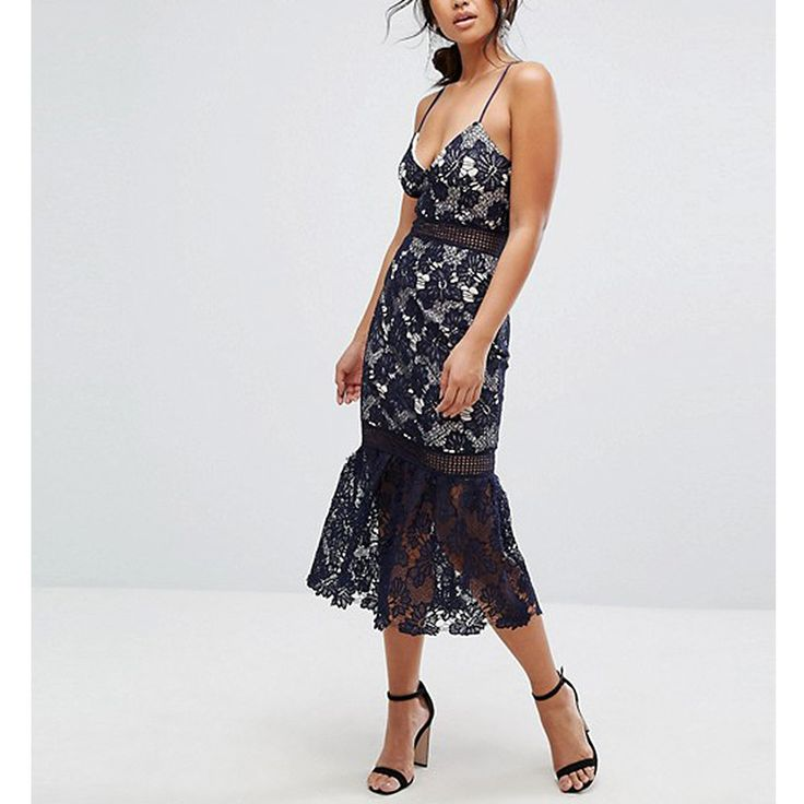 - The fluted shape is flattering on anyone. Style with a loose chignon for an amorous feel.Missguided Lace Fishtail-Hem Midi Dress, $79