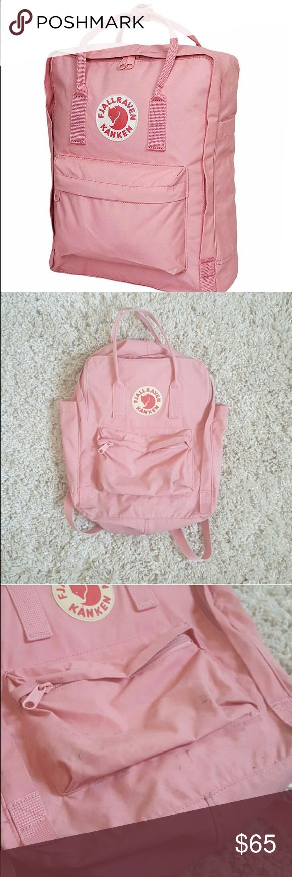 Fjallraven Kanken full size baby pink backpack Super cute! There are stains on the bottom from being set on the ground but the backpack has no functional flaws. Selling because I have too many bags! Fjallraven Bags Backpacks