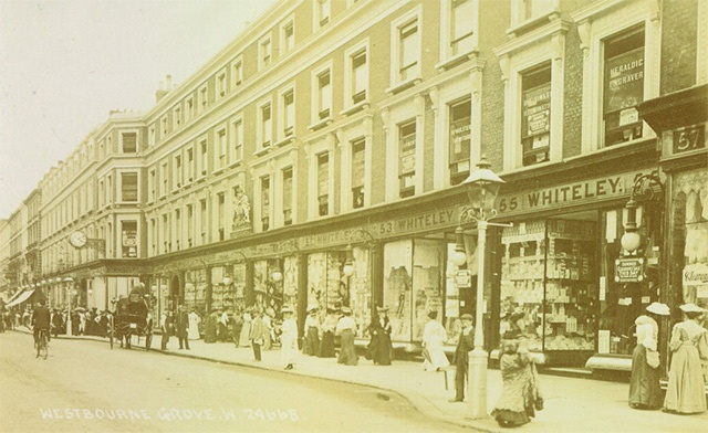 The original Whiteley's department store in Bayswater, London, founded by William Whiteley in 1863. The original burned down following an arson attack in 1887, but the replacement, completed in 1911, remains to this day as a shopping centre.