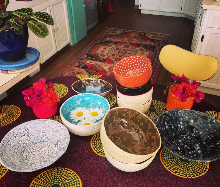 Handprinted or glazed each bowl is unique  #smoochceramics #bohemiankitchenware #ceramics