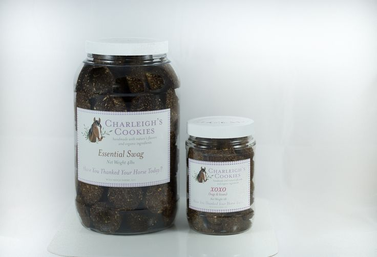 Try our 4 lb jar of Essential Swag and 1 lb jar of XOXO! #horsecookies #horsetreats #charleighscookies