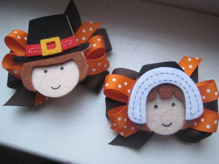 images of hair bows for little girls   Thanksgiving Hair Bow -Boy/Girl Pilgrim Bows- Toddler Hair Bows- Great ...