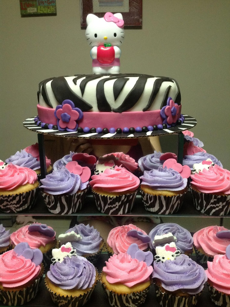 Hello Kitty Icing Cake Design : Zebra Hello Kitty Fondant Cake and Buttercream icing ...