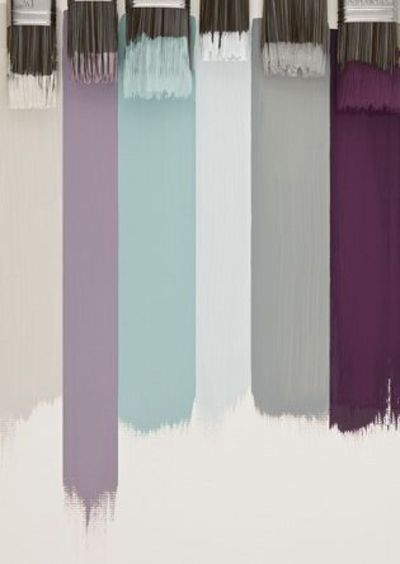 Color scheme for an entire house! gray, white, baby blue: laundry & bathrooms gray, white, plum: bedroom. lavender, baby blue, gray, and white: kitchen.