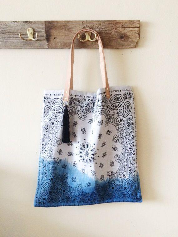 Bandana Tote Bag  Dip Dyed w/ veg tanned by TheFamilyTradingCo