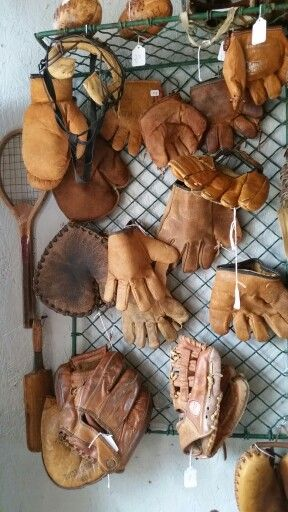 Vintage baseball gloves display #LordLeatherConditioner http://lordleathercare.com/