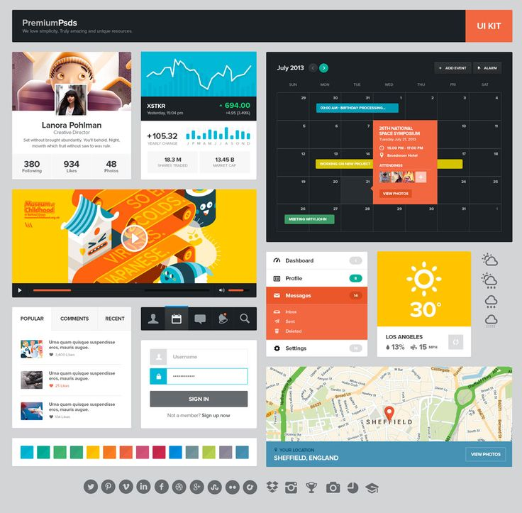 UI Kit gratuito da PremiumPsds per Siti e App