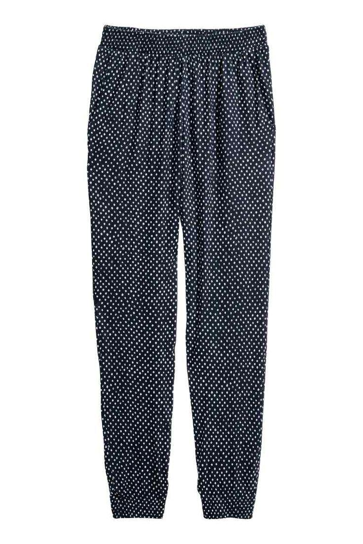 Pantaloni harem - Blu scuro/pois - DONNA | H&M IT