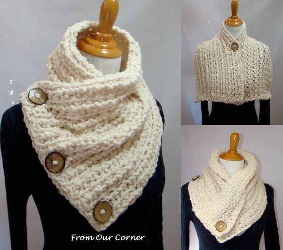 3 Button Crochet Scarf, 3 Button scarf, Wrap cowl, Dallas Dreams Scarf, Cream 3 Buttons Scarf, Mother's Gift #chunkyscarf #scarf: